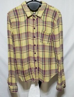 Free People Joplin Plaid Flannel Medium M 100% Cotton Long Sleeve Button Shirt