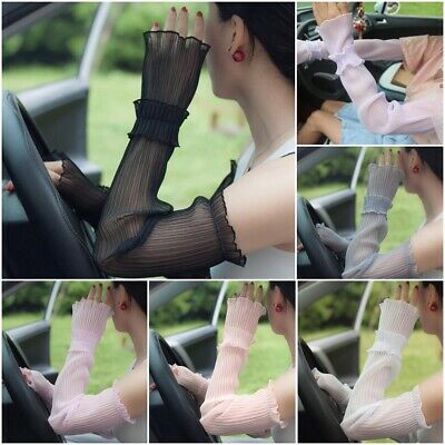 Sexy Thin Spring Summer Sunscreen Lace Gloves Long Solid Color Gloves For Women