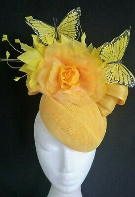 Yellow Feathers Flower Butterflies Hat Silk Fascinator Races Melbourne Cup