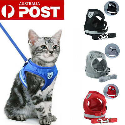 Kitten Cat Dog Walking Harness Adjustable Lead Leash Collar Small Dog Vest AU