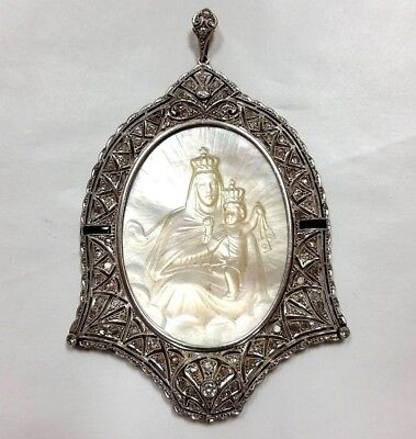 Antique Platinum 18k Gold Diamond & Hand Carved Mother of Pearl Pendant STUNNING