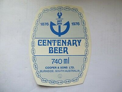 1876 - 1976 PORT PIRIE SA CENTENARY BEER LABEL COOPER & SONS SOUTH AUST 740 Mls