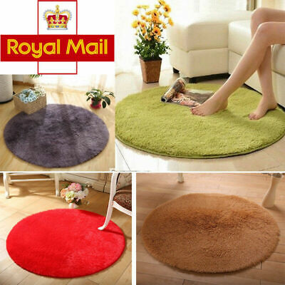 UK HOT Small Round Circular Carpet Non Slip Floor Rugs Mat Soft Shaggy Area Rugs
