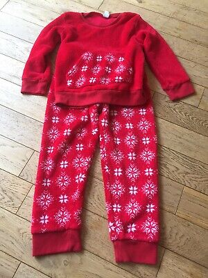 Store 21 Age 5-6 Years Fleece Childs Pyjamas In Red Long Sleeved With Icicle Pat