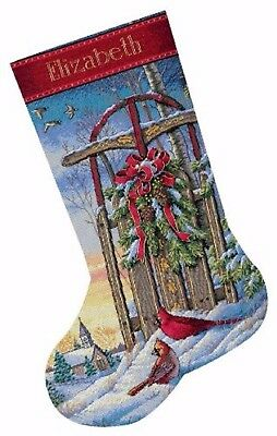 """DIMENSIONS GOLD """"CHRISTMAS SLED STOCKING """"CROSS STITCH   Kreuzstichpackung 41 CM"""