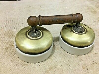 Old Vintage Brass CERAMIC  Electric Switch  Vitreous Brand Made in England