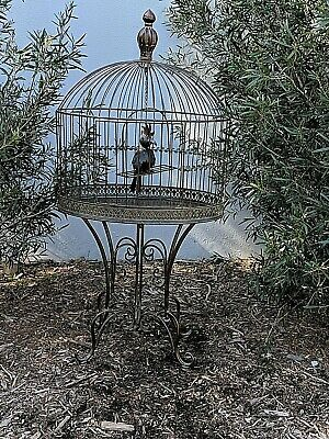Beautiful FRENCH very LARGE  BIRD CAGE  + stand WROUGHT IRON antique brown NEW