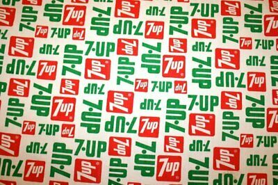 7UP Soda Vtg Fabric Panel or Curtain 45 x 28 Advertising Pillows Decor