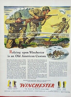 1943 WWII WINCHESTER RIFLE CARBINE CALIBER .30, M1 - SOLDIERS FIGHTING -Print ad