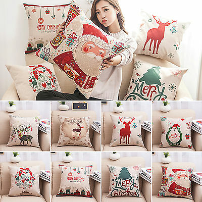 18'' Xmas Pillow Case Cushion Covers Santa Christmas Party Home Sofa Decor Gifts