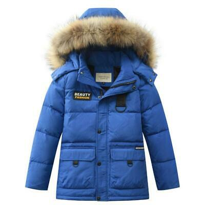 Boys Kids Winter Warm Puffer Fur Hooded Parka Padded Down Jacket Quilted Coat