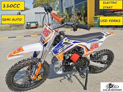 110cc Dirt Bike Trail Pit Bike Motor Electric Start Semi Auto Junior Bike Orange