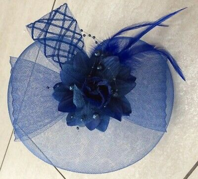 Blue Fascinator On Headband. NEW. Rose Centre Feature & Feathers. Wedding, Races
