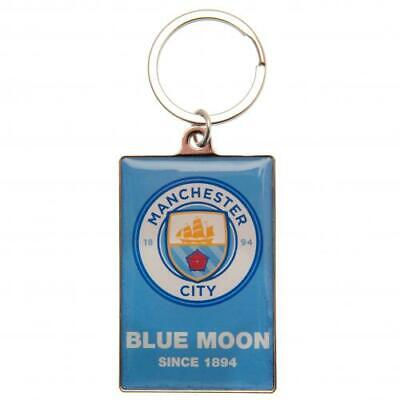 Manchester City Fc Blue Moon Metal Keyring In Velvet Pouch - Official Gift