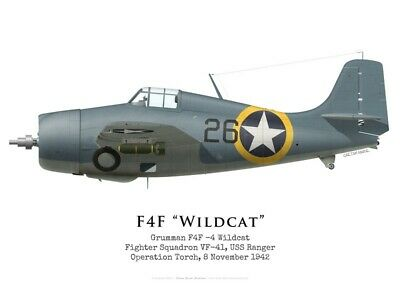 Print F4F-4 Wildcat, VF-41, Operation Torch, 1942 (by G. Marie)