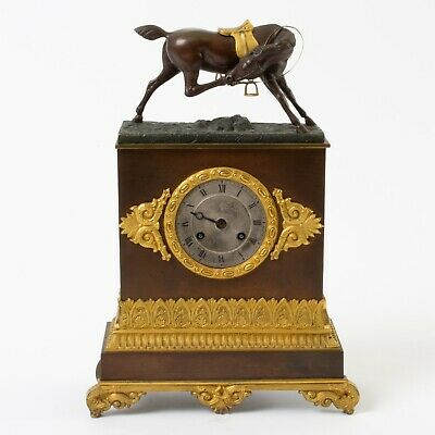 Antique French Silk Thread Bronze & Gilt Mantle Clock Equestrian Horse *Repair*