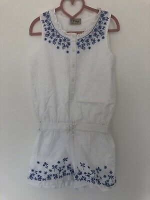 Girls NEXT Gorgeous White Floral All-in-1 Summer Playsuit, Age 7 Yrs
