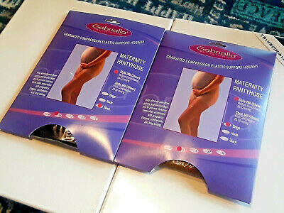 Gabrialla Maternity Compression Pantyhose Style 260 Sheer Black Beige 2 Pack MED