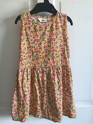 BNWOT H&M Summer Dress. Yellow/ Green/ Red Flowers. Girls. Age 2 - 8 Years