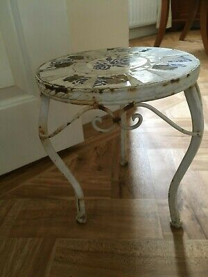 Vintage rusty metal white painted tiled blue small heavy plant pot stand table