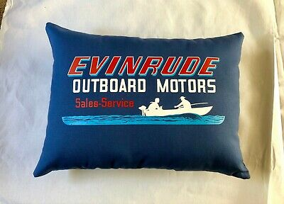 Evinrude Vintage Style Outboard Motor Pillow Handmade in the USA Royal Blue
