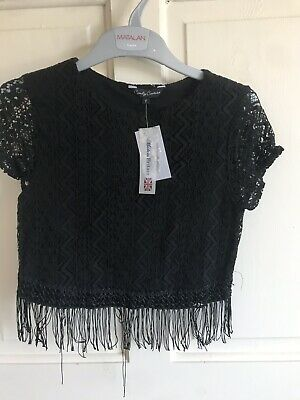 BNWT Candy Couture Lace  Top With Tassles. Black. Girls. Age 9 - 15 Years