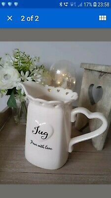 Pretty Cream Shabby Chic Square Vintage  CountryCottage Style Sweet Heart Jug