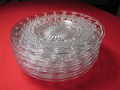 """(6) VTG 1930s IMPERIAL GLASS OHIO TRADITION PATTERN CLEAR LUNCHEON PLATES 8 1/4"""""""