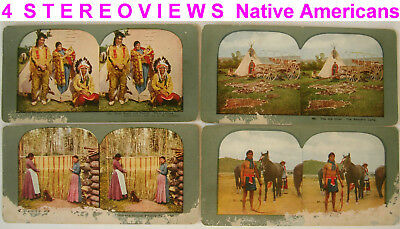 4 Stereoviews of SIOUX CHIEF GRAY EAGLE and his Family Vintage 1898-1905