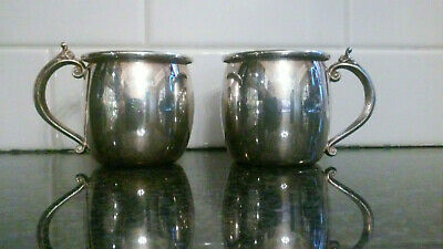 Fb Rogers Silver Co. Silverplate Punch Cups With Scroll Handles