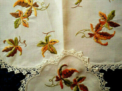 Wonderful 2 piece Autumnal/Fall Leaves ~ Vintage Hand Embroidered Duchess set