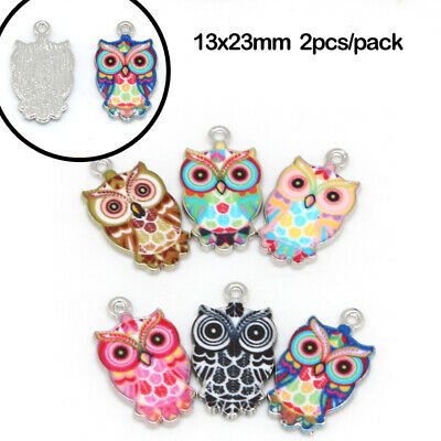 DIY Color Cute Charms Enamel Owl Crafts Jewelry Making Pendants Necklace Mixed