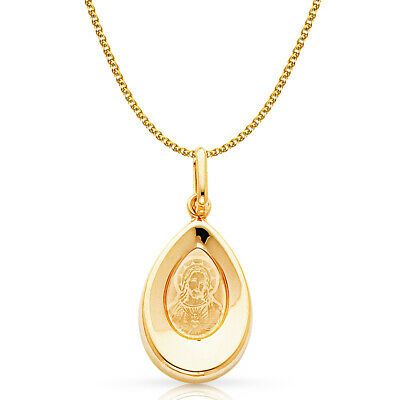 14K Yellow Gold Jesus Charm Pendant with 1.2mm Flat Open Wheat Chain Necklace