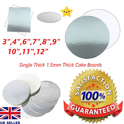 """Cake Board Silver 1.5mm,Thick Cards 6"""",7"""" 8""""9"""" 10""""11""""12"""" UK Seller,Fast Delivery"""