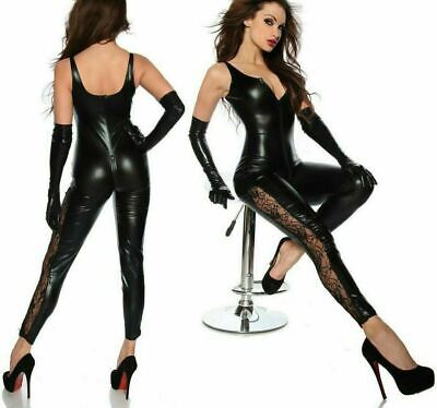 Damen Latex Overall Lack Catsuit Leder Anzug Spitze Body sexy Sexspiel Party SM