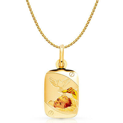 14K Yellow Gold Baptism Charm Pendant with 1.5mm Flat Open Wheat Chain Necklace