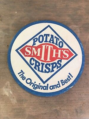 VINTAGE Potato Smiths Crisps Chips ADVERTISING COASTER Ephemera