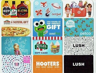 Collectible Gift Card - YOU CHOOSE 3 for $1.59 -FOOD, Rita's, Hooters,Petco,Lush
