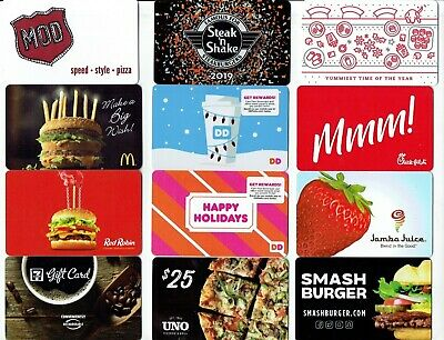 Collectible Gift Card - YOU CHOOSE 3 for $1.59 - FOOD, Dunkin, Chick-Fil-A,McDon