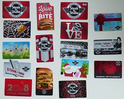 STEAK 'n SHAKE Collectible Gift Cards - LOT of 16 Different Styles - No Value