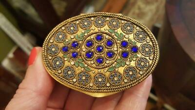 Antique French Jeweled & Enamel Compact Double Well w/ puffs