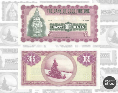 Universal Christmas Cheque: Bank of Good Fortune 365 Happy Days UNC, Gabris 2016