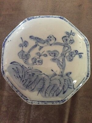ANTIQUE OCTAGONAL FORM PORCELAIN CHINA TRINKET BOX really nice container for you