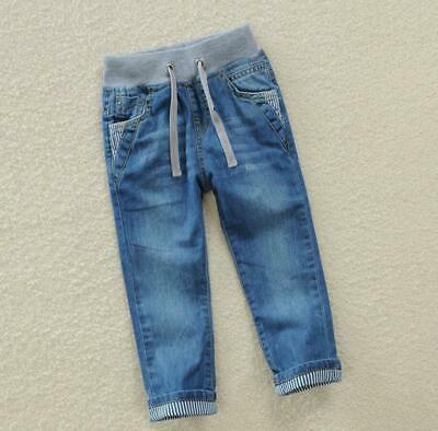 Boys Kids Elasticated Waist Jeans Denim School Casual Pants Jogger Trousers New