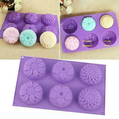6 Cavity Flower Shaped Silicone Soap Candle Mold Craft DIY Handmade Mould S8Z0