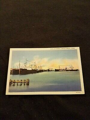 Ships in Harbor Corpus Christi Texas - Vintage Postcard Unused 3A-H1500