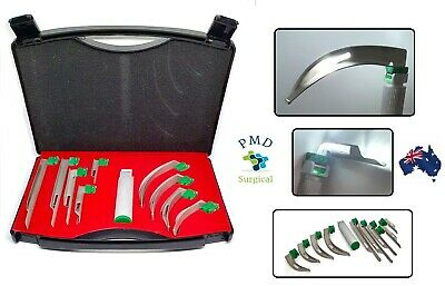 Premium Fiber Optic Macintosh Laryngoscope Set With 4 Blades + C Size Handle