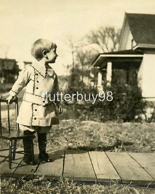 MM246 Vtg Photo BEAUTIFUL CHILD WITH CHILD'S CHAIR c Early 1900's