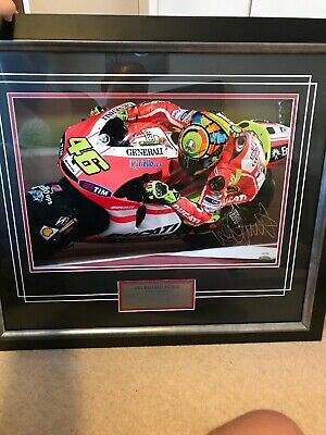 VALENTINO ROSSI HAND SIGNED DUCATI MOTOGP FRAMED *outstanding* COA Included