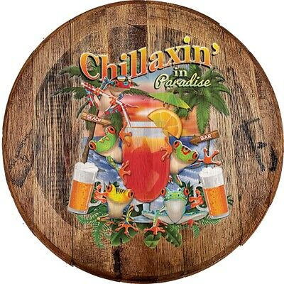 Whiskey Barrel Head Chillaxin' In Paradise Tropical Frogs Drinking Wood Bar Sign